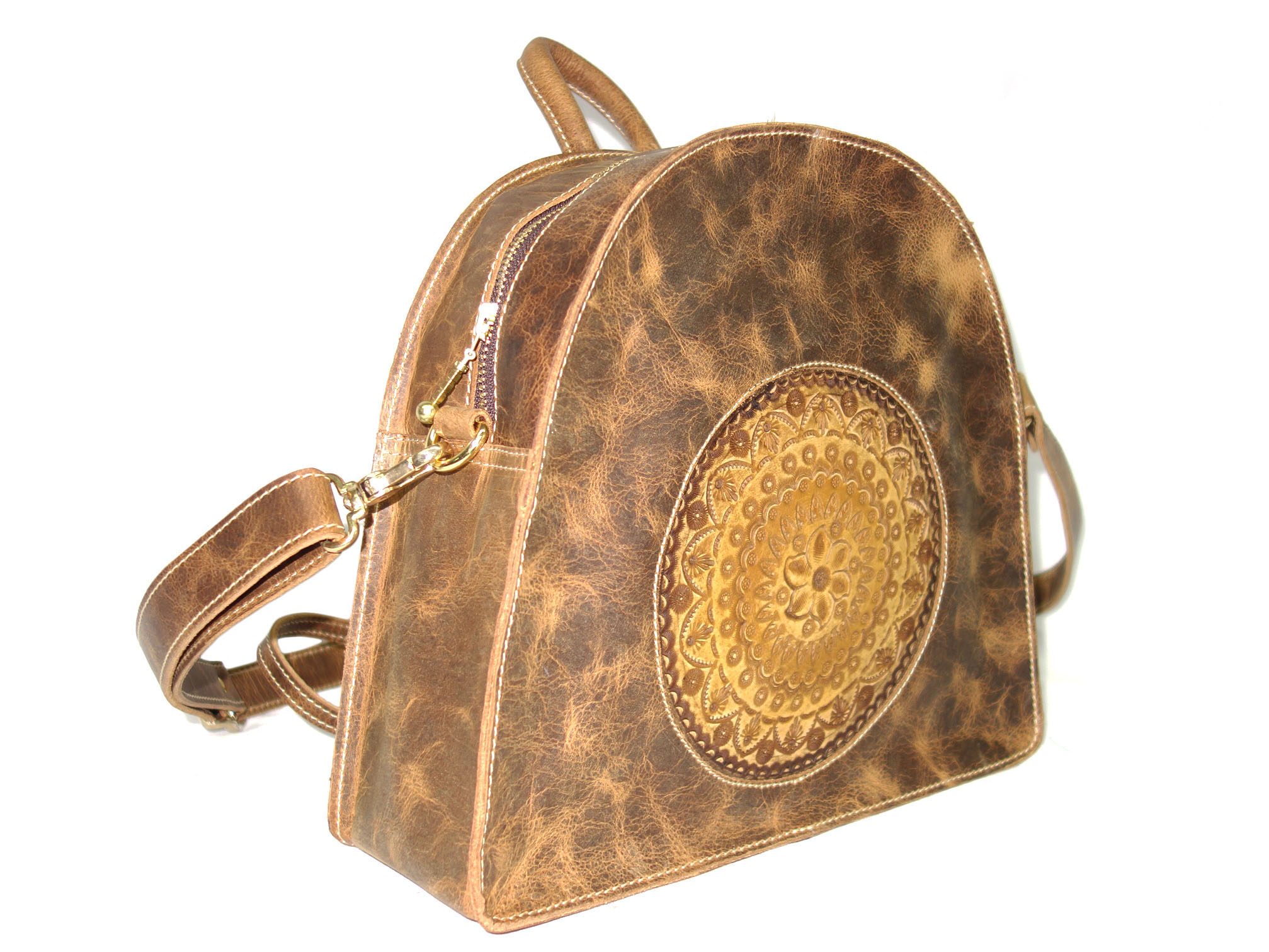 Handmade Bag Genuine Leather Handbag, Hand Crafted and Color with Shoulder Strap for Woman Vintage Finish (Mustard)