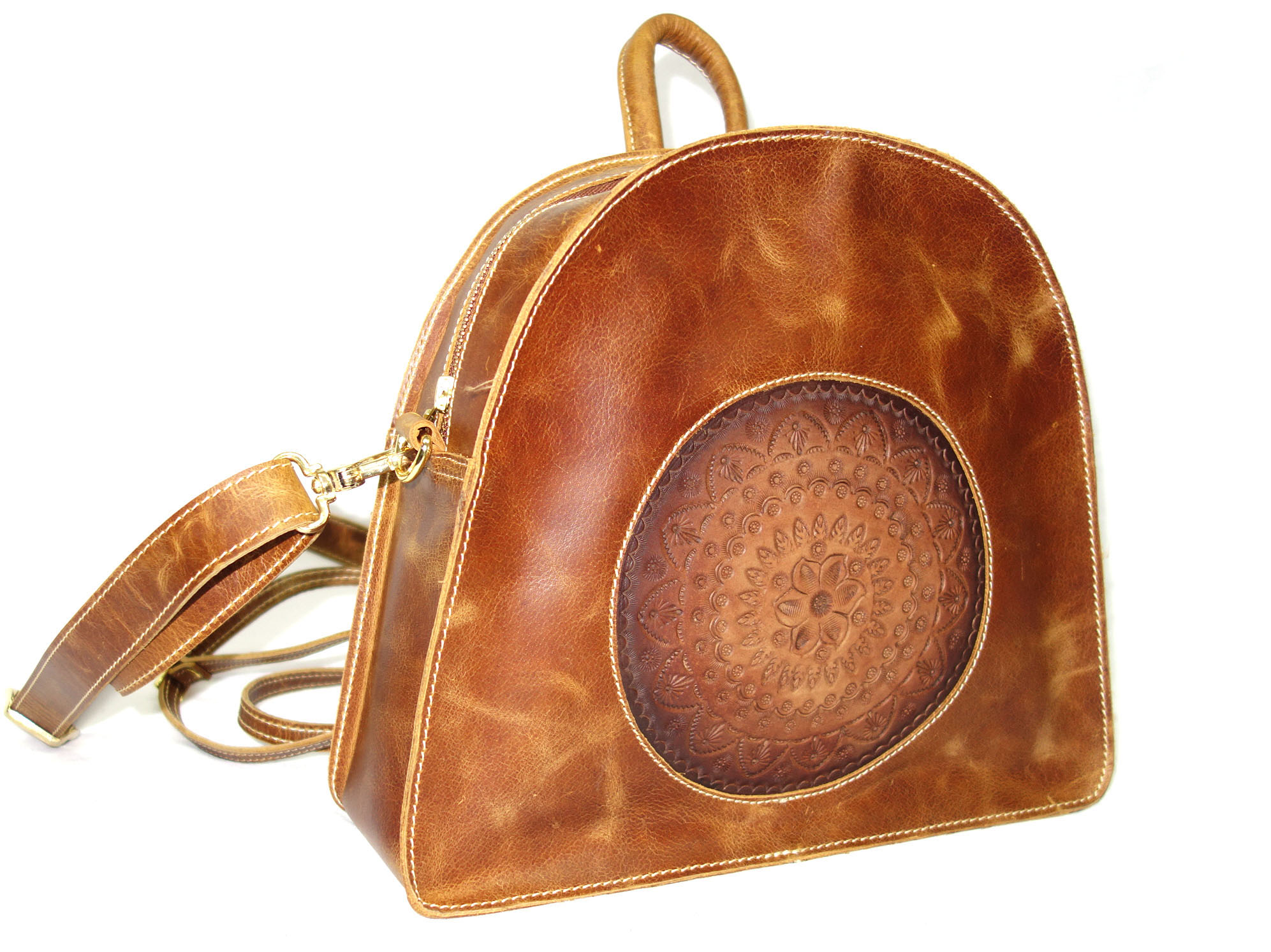 Leather Bag, Back Pack Hand Crafted and Color with Shoulder Strap for Girls & Woman Vintage Finish (Brown)