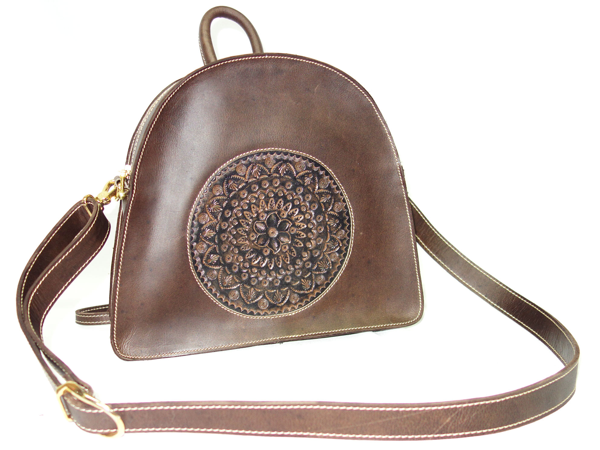 Handmade Bag Genuine Leather Handbag, Hand Crafted and Color with Shoulder Strap for Woman Vintage Finish (Dark Brow)