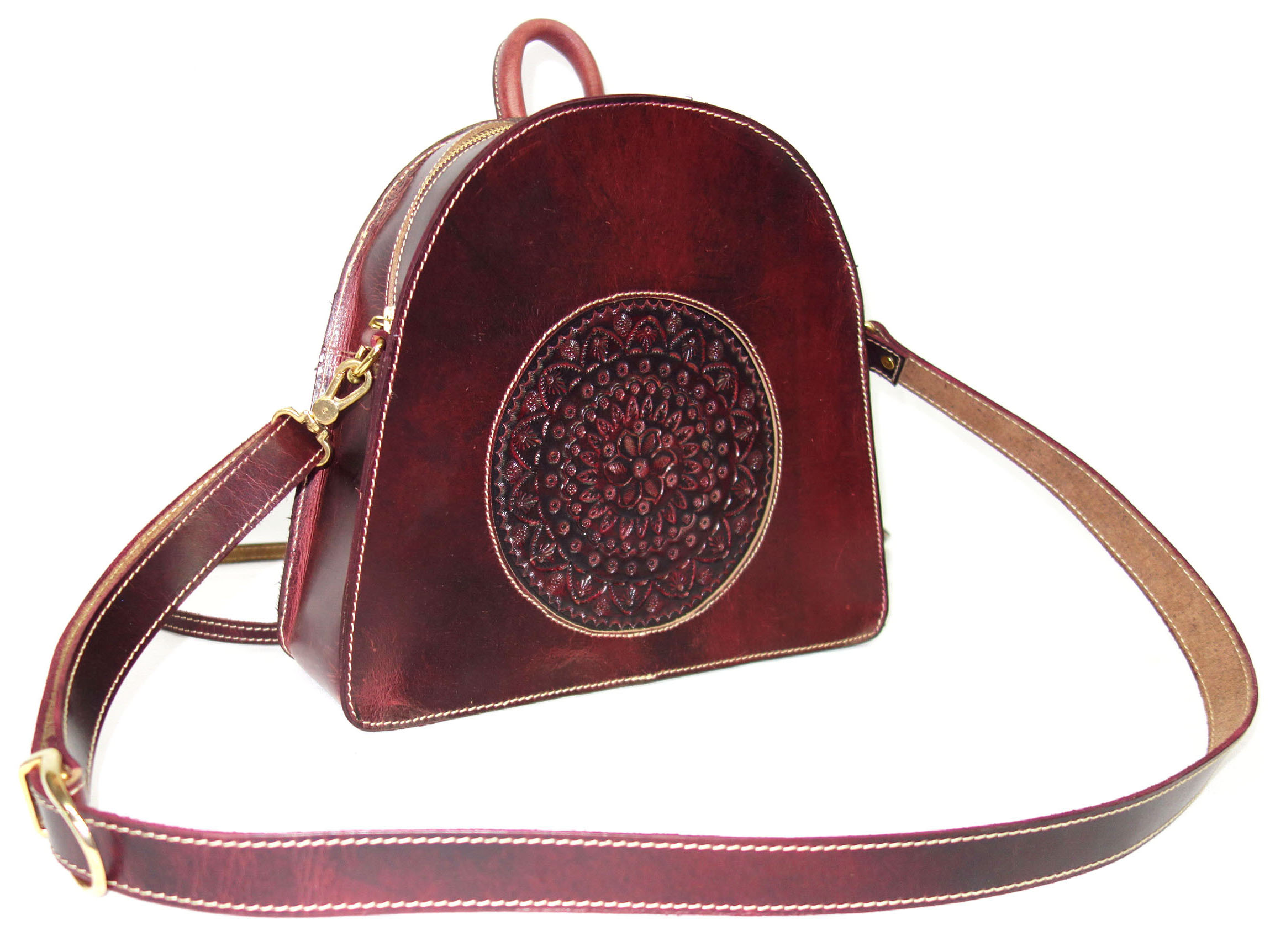 Leather Bag, Hand Crafted and Color with Shoulder Strap for Woman Vintage Finish (Burgundy)