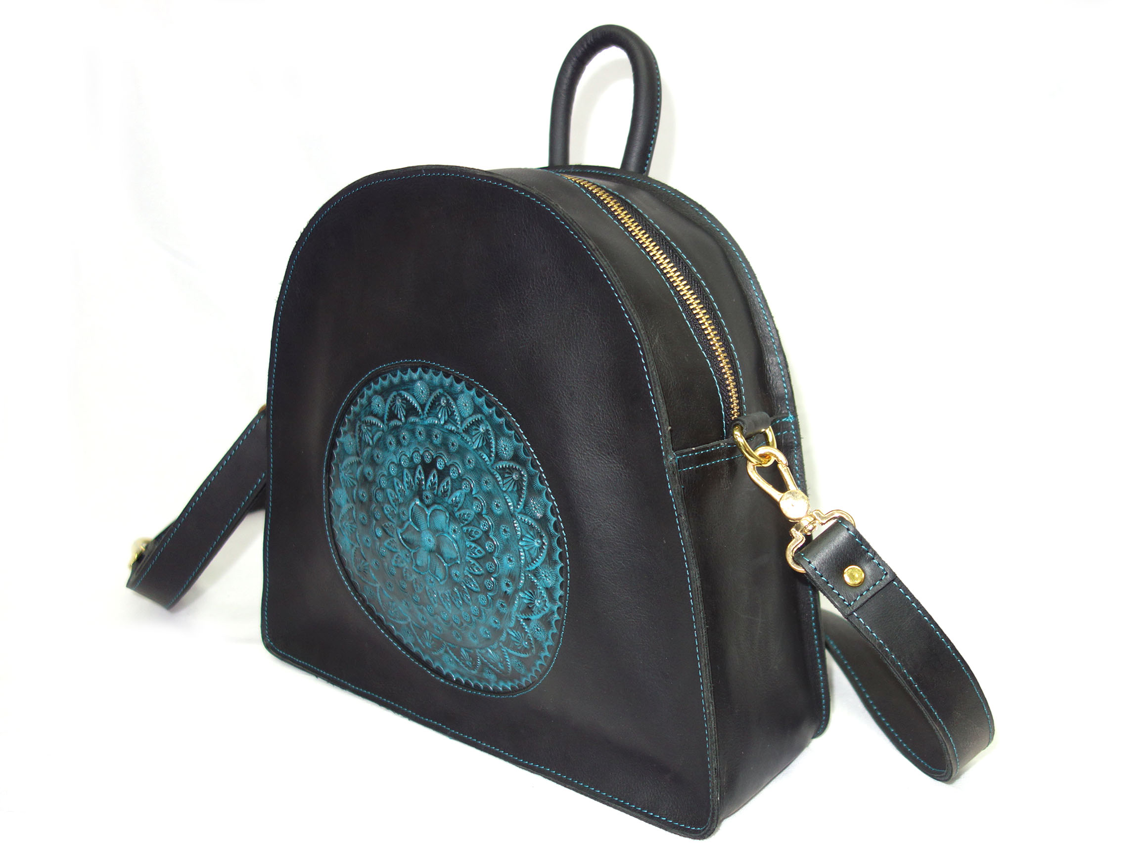 Leather Bag, Back Pack Hand Crafted and Color with Shoulder Strap for Woman Vintage Finish (Black)