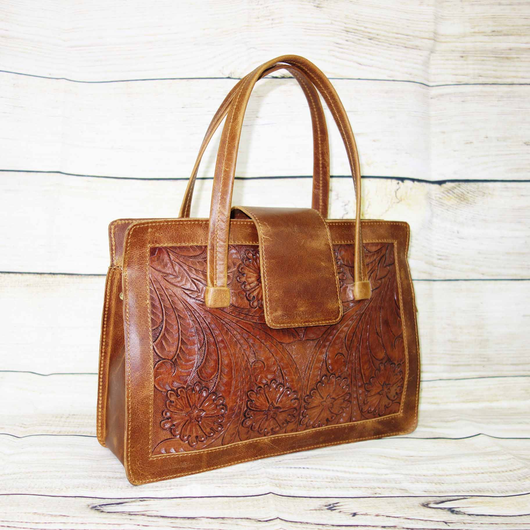 Handmade Genuine Shoulder Bag for Women, Beautiful Floral Leather Bag for Women, Brown & Cherry Color, 100% Real Leather